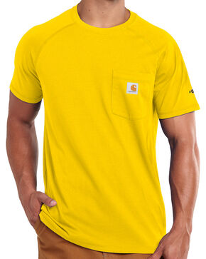 Carhartt Men's Yellow Force Cotton Delmont T-Shirt, Yellow, hi-res