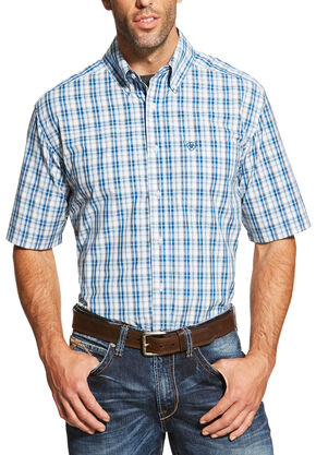 Ariat Men's Blue Short Sleeve Dominic Shirt, Blue, hi-res