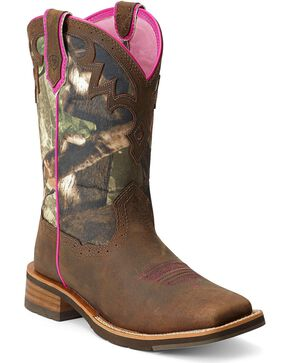 Ariat Unbridled Camo Cowgirl Boots - Square Toe, Brown, hi-res