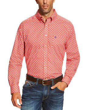 Ariat Men's Red Anderson Print Shirt, Red, hi-res