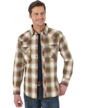 Wrangler 20X Brown and Rust Plaid Western Shirt, Brown, hi-res