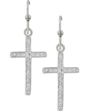 Montana Silversmiths Women's Simple Rhinestone Cross Earrings , Silver, hi-res