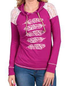 Panhandle Women's Hooded Aztec Feather Long Sleeve Shirt, , hi-res