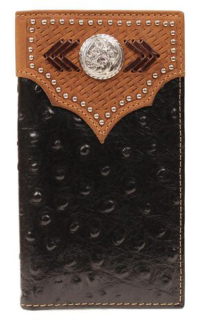Nocona Studded Basketweave Overlay Ostrich Print Rodeo Wallet, Black, hi-res