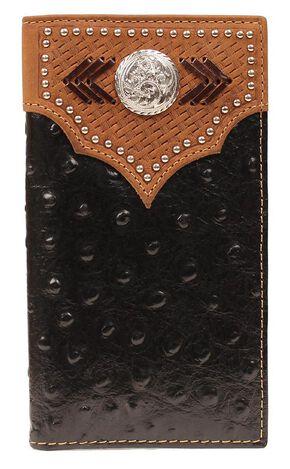 Nocona Studded Basketweave Overlay Ostrich Print Rodeo Wallet, Black, hi-res