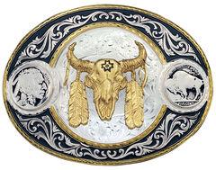 Montana Silversmiths Buffalo Nickel & Ceremonial Skull Western Belt Buckle, , hi-res