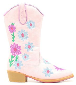 Blazin Roxx Youth Girls' Daisy Floral Embroidered Cowgirl Boots - Snip Toe, Pink, hi-res