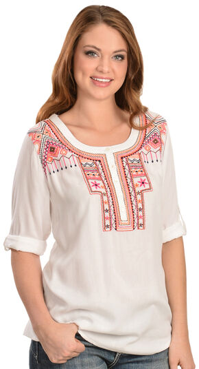 Red Ranch Women's Embroidered Roll-Tab Blouse, Ivory, hi-res