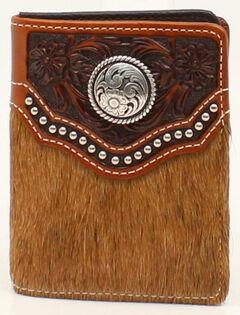 Ariat Calf Hair Studded Flip Case Bi-Fold Wallet, , hi-res