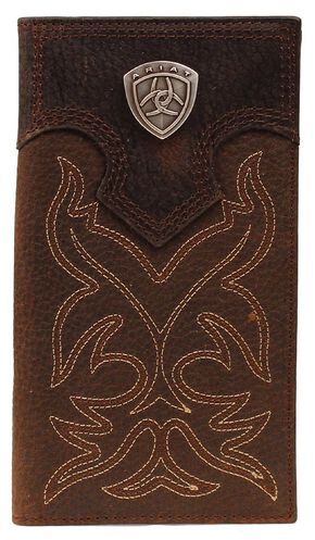 Ariat Boot Stitched Rodeo Wallet, Brown, hi-res