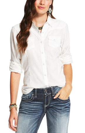 Ariat Women's White Butte Snap Shirt , White, hi-res