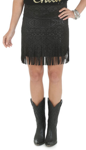 Wrangler Rock 47 Women's Aztec Pattern Mini Skirt with Fringe, Black, hi-res