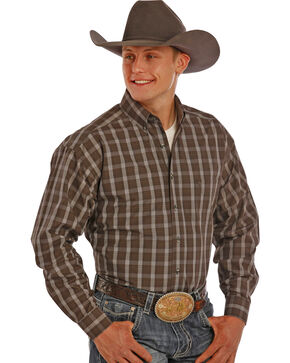Tuf Cooper Performance Grey and Tan Plaid Western Shirt , Grey, hi-res