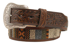 Nocona Ribbon Inlay Tooled Billet Belt, , hi-res
