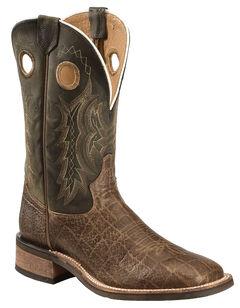 Tony Lama Tan Elephant Grain Americana Cowboy Boots - Square Toe , , hi-res
