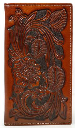 Cody James Men's Tooled Floral Rodeo Checkbook Wallet, , hi-res