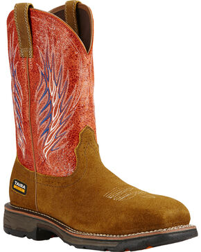 Ariat Fire Workhog Mesteno II Cowboy Work Boots - Composite Toe , Brown, hi-res