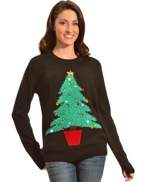 Lisa International Colorful Christmas Tree Light Up Christmas Sweater, Black, hi-res