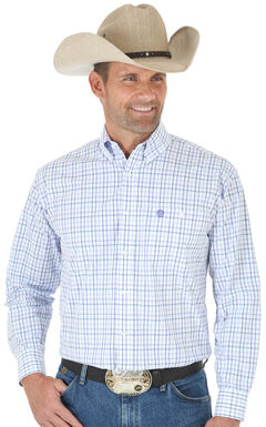 Wrangler George Strait Purple & White Plaid Western Shirt - Big and Tall , Purple, hi-res