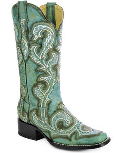 Corral Turquoise Studded and Embroidered Cowgirl Boots - Square Toe, , hi-res