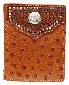 Nocona Studded Basketweave Overlay Ostrich Print Bi-fold Wallet, , hi-res