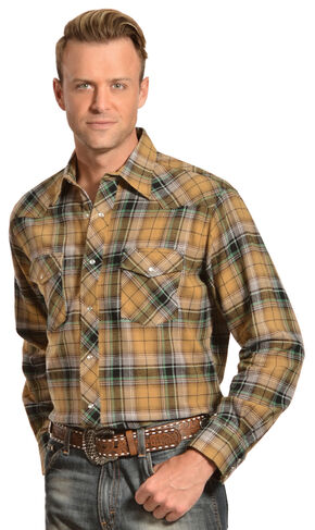 Wrangler Men's Tan & Green Plaid Flannel Shirt, Green, hi-res