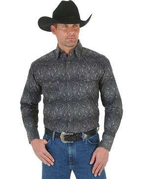 Wrangler George Strait Troubadour Stripe Western Shirt, Black, hi-res