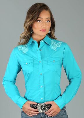 Wrangler Women's Long Sleeve Fancy Yoke 2 Pocket Shirt, Turquoise, hi-res