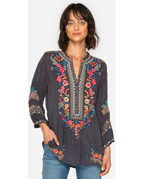 Johnny Was Women's Grey Sarabeth Tunic , Navy, hi-res