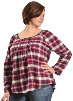 Red Ranch Women's Plum Plaid Pleather Trim Pleated Flannel Top - Plus, , hi-res