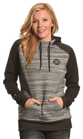 Hooey Women's Black and Grey Raglan Hoodie , Black, hi-res