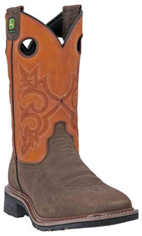 John Deere Men's Western Work Boots - Square Toe, Brown, hi-res
