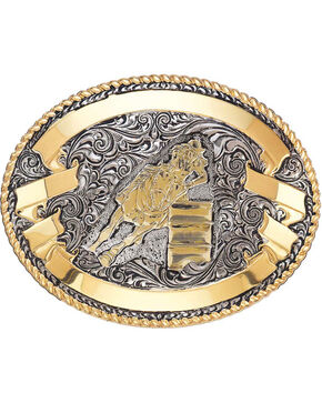 Crumrine Women's Silver and Gold Barrel Racer Belt Buckle , Silver, hi-res