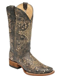 Circle G Diamond Embroidered Cowgirl Boots - Square Toe, , hi-res