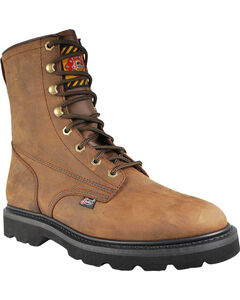 """Justin Men's Steel Toe Lace-Up 8"""" Work Boots - Round Toe , Brown, hi-res"""