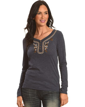 Shyanne Women's Long Sleeve Henley, Blue, hi-res