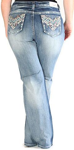 Grace in LA Light Wash Chevron Pocket Bootcut Jeans - Plus Size , , hi-res