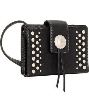 Bandana by American West Game Girl Organized Concho and Stud Crossbody Bag, Black, hi-res