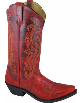 Smoky Mountain Madison Red Cowgirl Boots - Snip Toe, Red, hi-res
