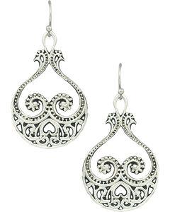 Montana Silversmiths Women's Western Lace Paisley Hearts Earrings , , hi-res