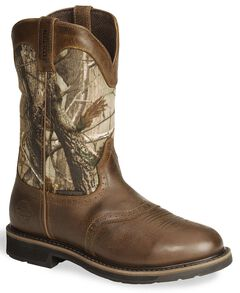 Justin Stampede Camo Waterproof Work Boot - Round Toe, , hi-res