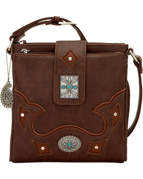 Bandana by American West Lexington Organizer Crossbody, Chocolate, hi-res