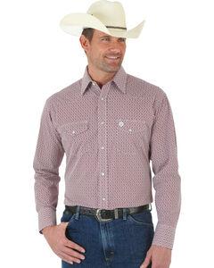 Wrangler George Strait Red and White Poplin Snap Shirt, , hi-res