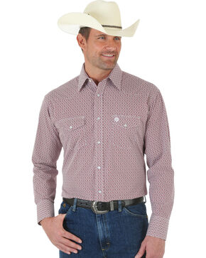 Wrangler George Strait Red and White Poplin Snap Shirt, Red Check, hi-res
