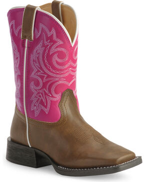 Durango Girls' Lil' Partners Cowboy Boots - Square Toe , Tan, hi-res