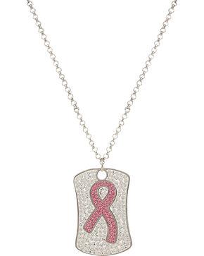 Montana Silversmiths Tough Enough to Wear Pink Token Necklace, Silver, hi-res