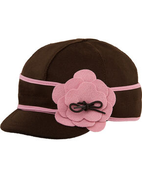 Stormy Kromer Women's Chocolate & Pink Petal Pusher Cap, Multi, hi-res