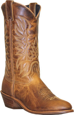 Abilene Sage Distressed Tan Cowboy Boots - Round Toe, , hi-res