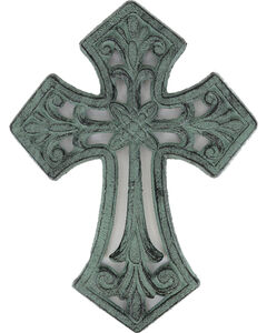 BB Ranch Cast Iron Antique Cross Wall Decor , Turquoise, hi-res