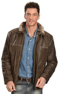 Vintage Leather Men's Distressed Brown Double Collar Jacket, , hi-res